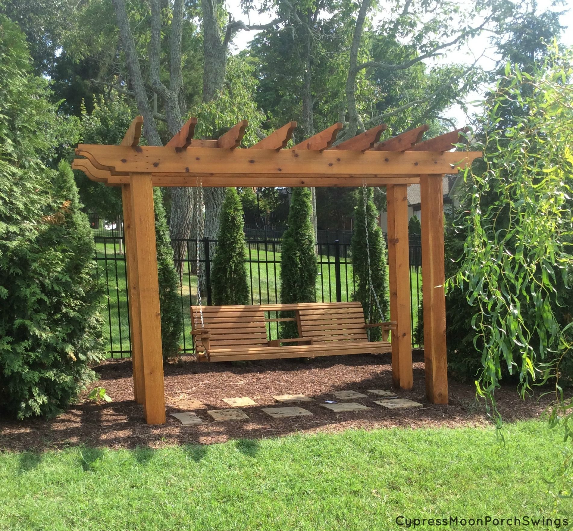 An Awesome Porch Swing Gazebo Featuring The Cypress Moon Regarding Patio Gazebo Porch Swings (View 6 of 25)