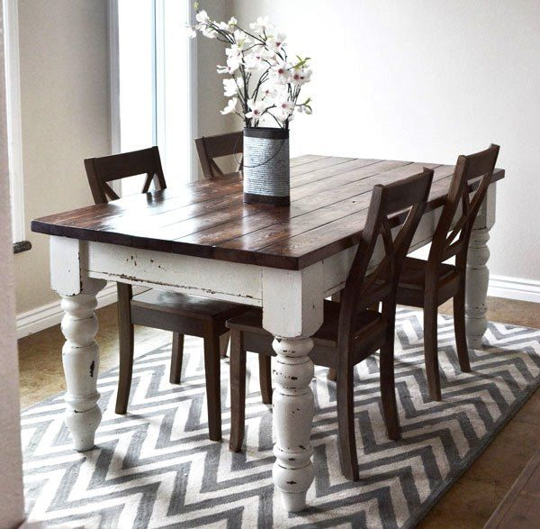 Ana White Used Various #minwax Stain And Finish Products For Walnut And Antique White Finish Contemporary Country Dining Tables (View 6 of 25)