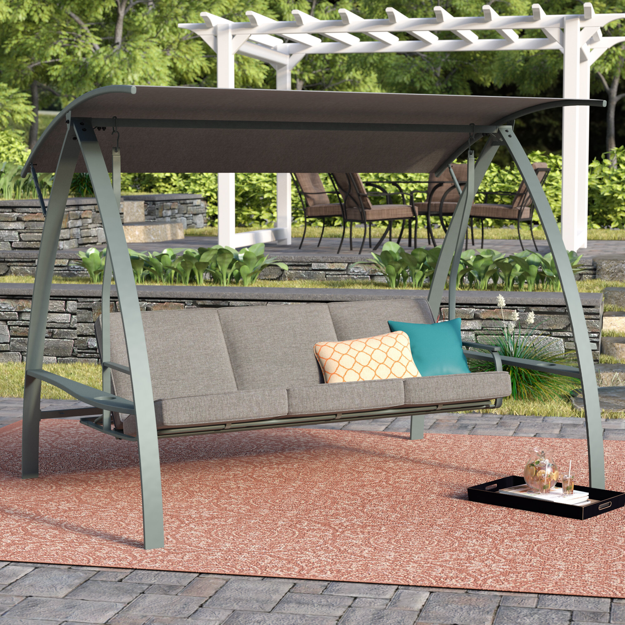 Andover Mills Marquette 3 Seat Daybed Porch Swing With Stand Pertaining To Wicker Glider Outdoor Porch Swings With Stand (View 24 of 25)
