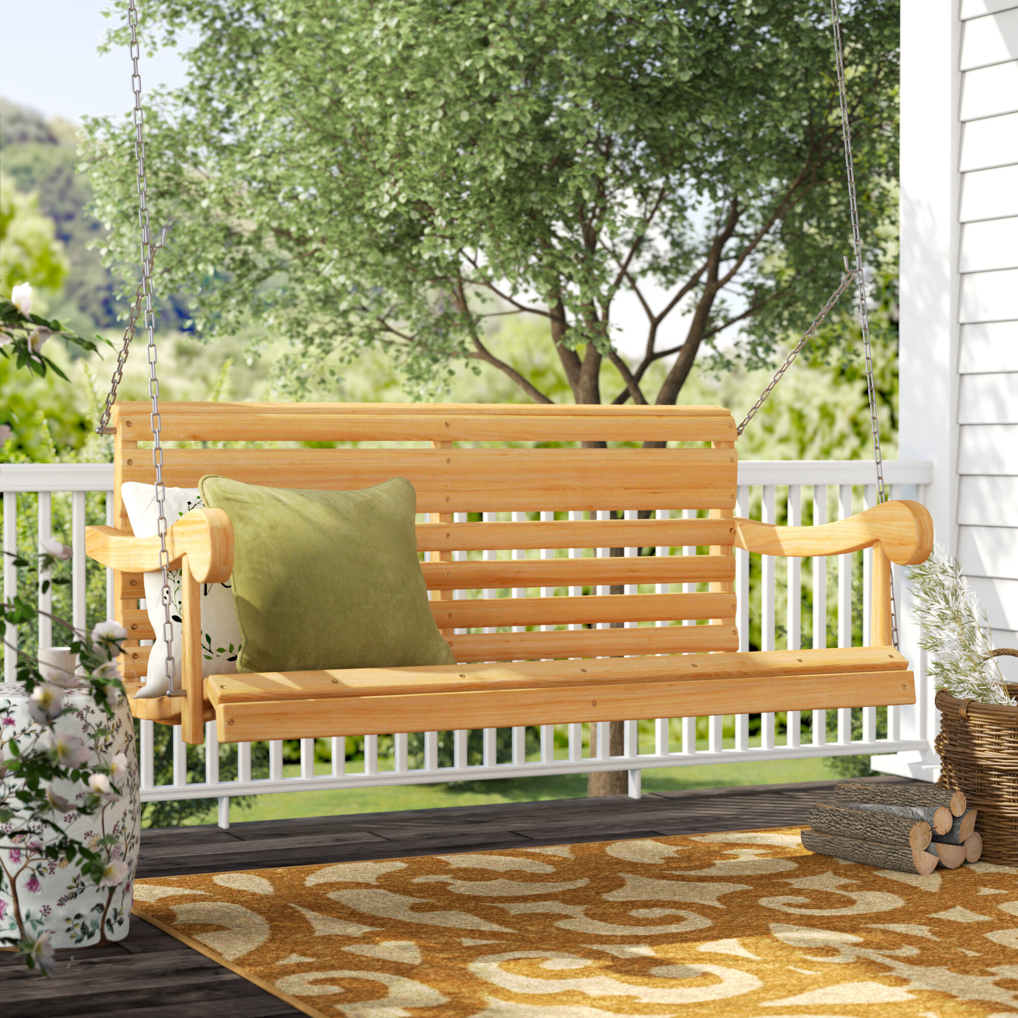 Andover Mills Silvia Porch Swing & Reviews | Wayfair With Fordyce Porch Swings (View 7 of 25)
