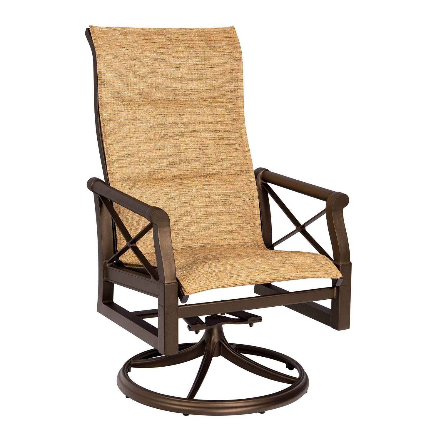 Andover Padded Sling High Back Swivel Rocking Dining Armchair With Regard To Sling High Back Swivel Chairs (View 25 of 25)
