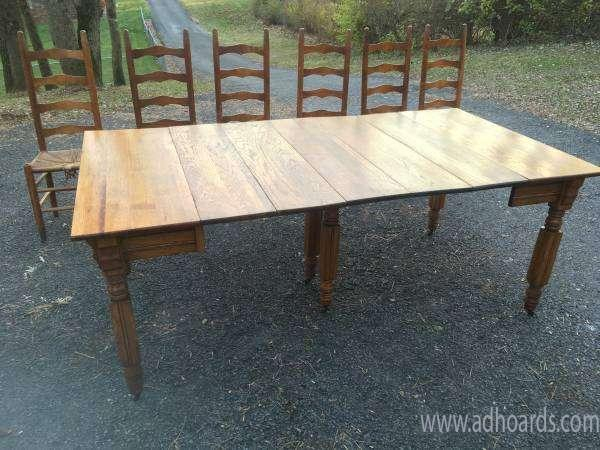 Antique Oak Extending Farmhouse Dining Table 6 Ladderback Pertaining To Dining Tables In Smoked Seared Oak (View 16 of 25)