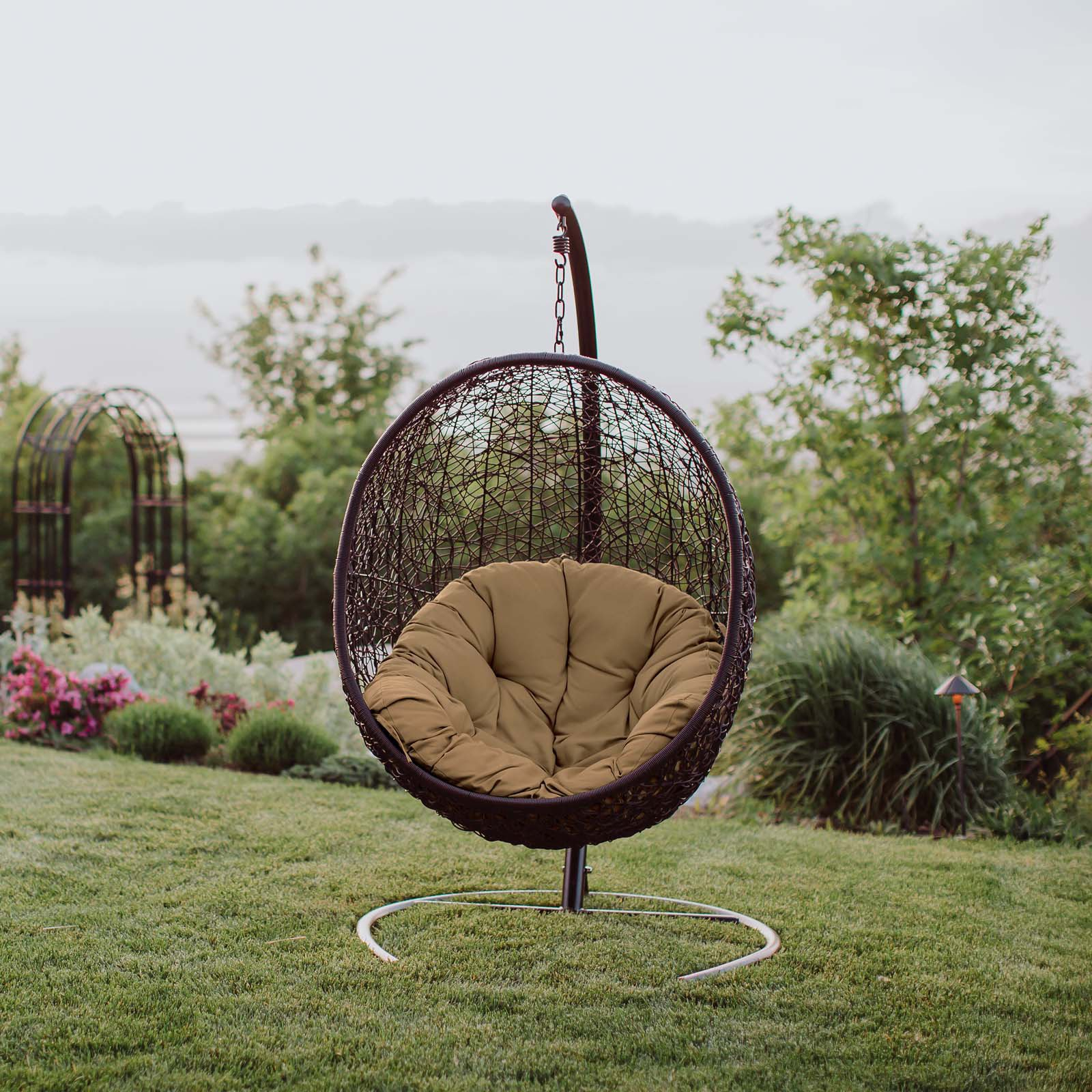 Appealing Outdoor Patio Swing Chair Colors Black Hammock Intended For Wicker Glider Outdoor Porch Swings With Stand (View 22 of 25)