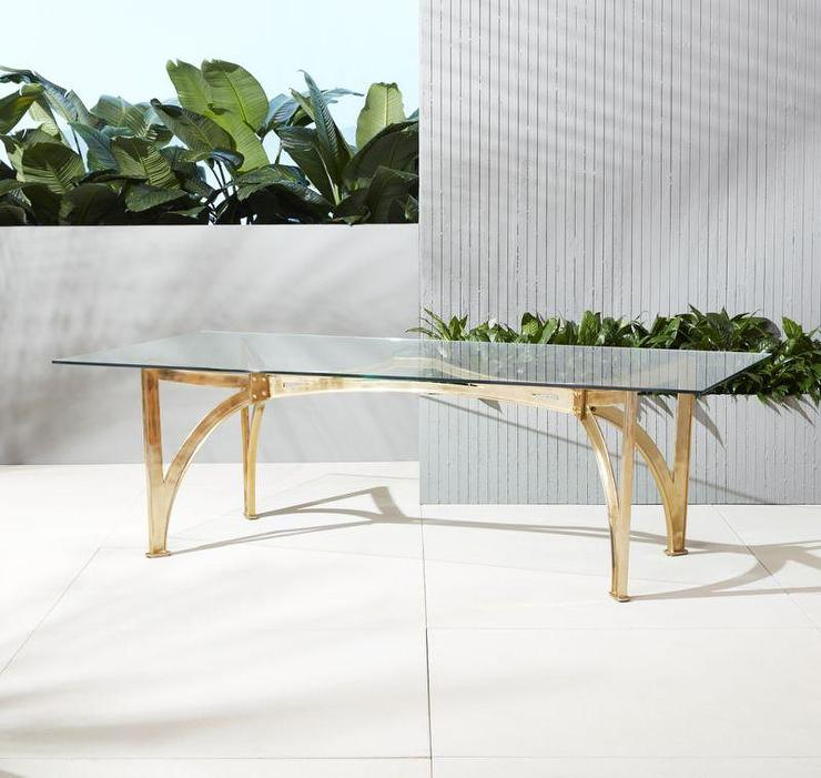 Aqueduct Rectangular Clear Glass Table With Regard To Modern Gold Dining Tables With Clear Glass (View 20 of 26)