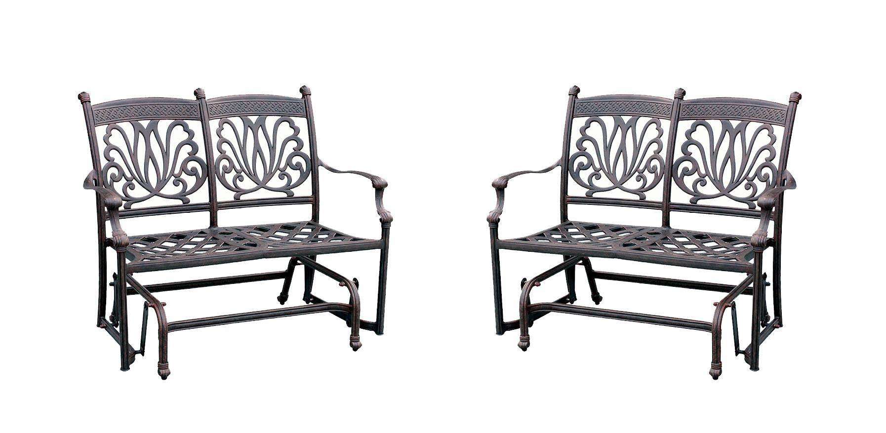 Ariana Cast Aluminum Bench Loveseat Glider W/ Sunbrella With Regard To Aluminum Glider Benches With Cushion (View 8 of 25)