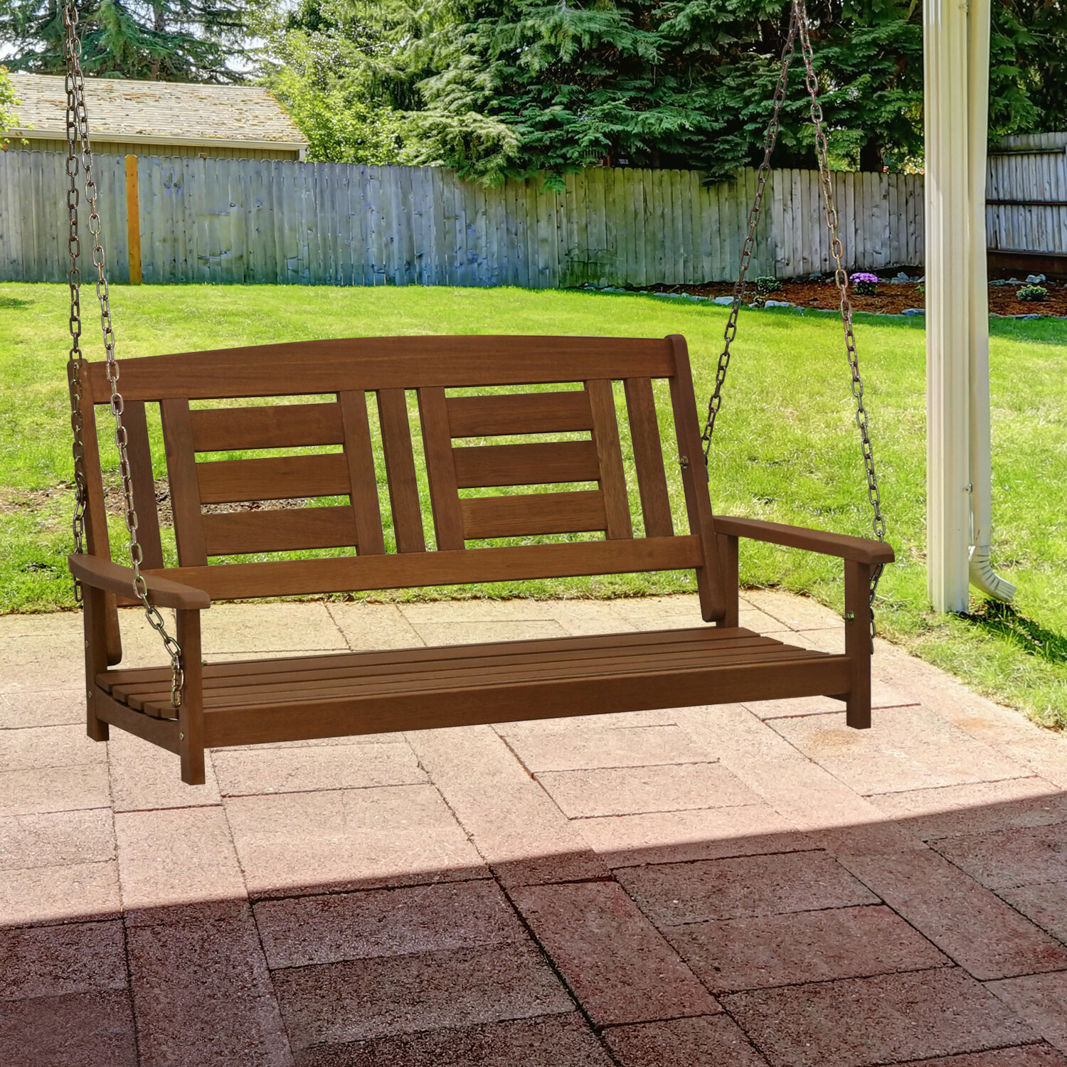 Arianna Hardwood Hanging Porch Swing Throughout Fordyce Porch Swings (View 18 of 25)