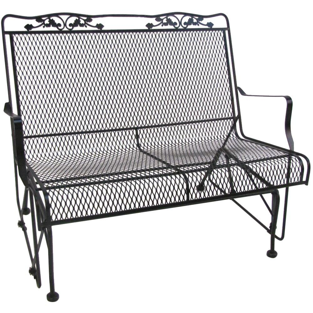 Arlington House Glenbrook Black Patio Glider Throughout 2 Person Antique Black Iron Outdoor Gliders (Image 1 of 25)