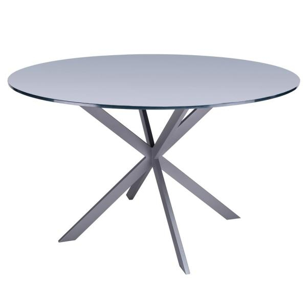 Armen Living Malek Grey Dining Table Lcmydibagrey – The Home Throughout Frosted Glass Modern Dining Tables With Grey Finish Metal Tapered Legs (View 16 of 25)