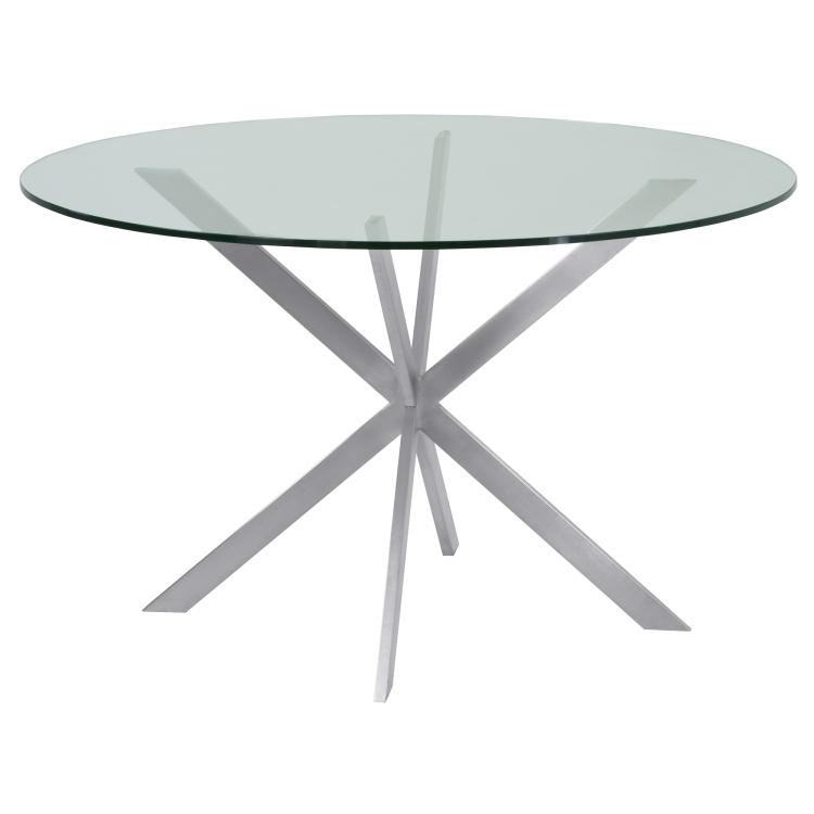 Armen Living Mystere Round Dining Table In Brushed Stainless Inside Dining Tables With Brushed Stainless Steel Frame (View 22 of 25)