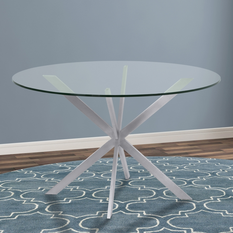 Armen Living Mystere Round Dining Table In Brushed Stainless With Dining Tables With Brushed Stainless Steel Frame (View 24 of 25)