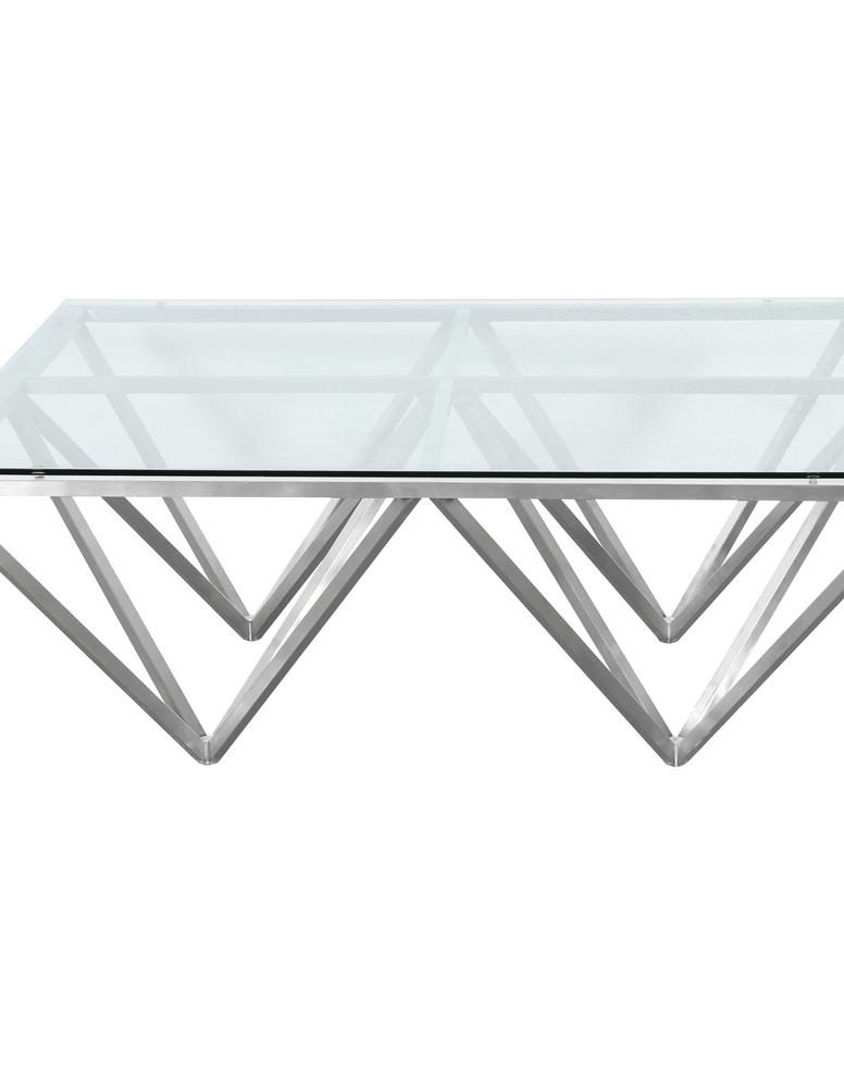 Armen Living Tempered Glass Top Contemporary Rectangular Within Eames Style Dining Tables With Chromed Leg And Tempered Glass Top (View 14 of 25)