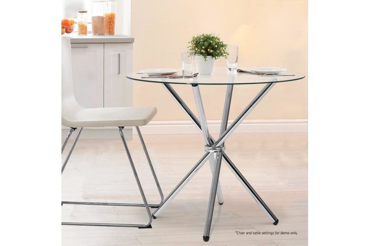Artiss Vetro Round Dining Table Tempered Glass 4 Seater Chrome Steel Legs  Cross Regarding 4 Seater Round Wooden Dining Tables With Chrome Legs (View 23 of 25)