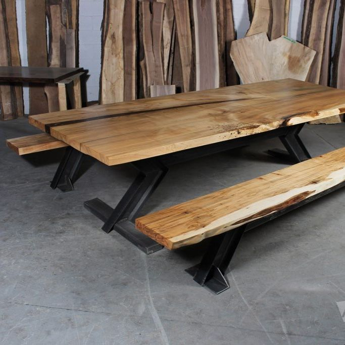 Ash Live Edge Dining Table And Benches With X Legs | Dining With Small Dining Tables With Rustic Pine Ash Brown Finish (View 3 of 25)