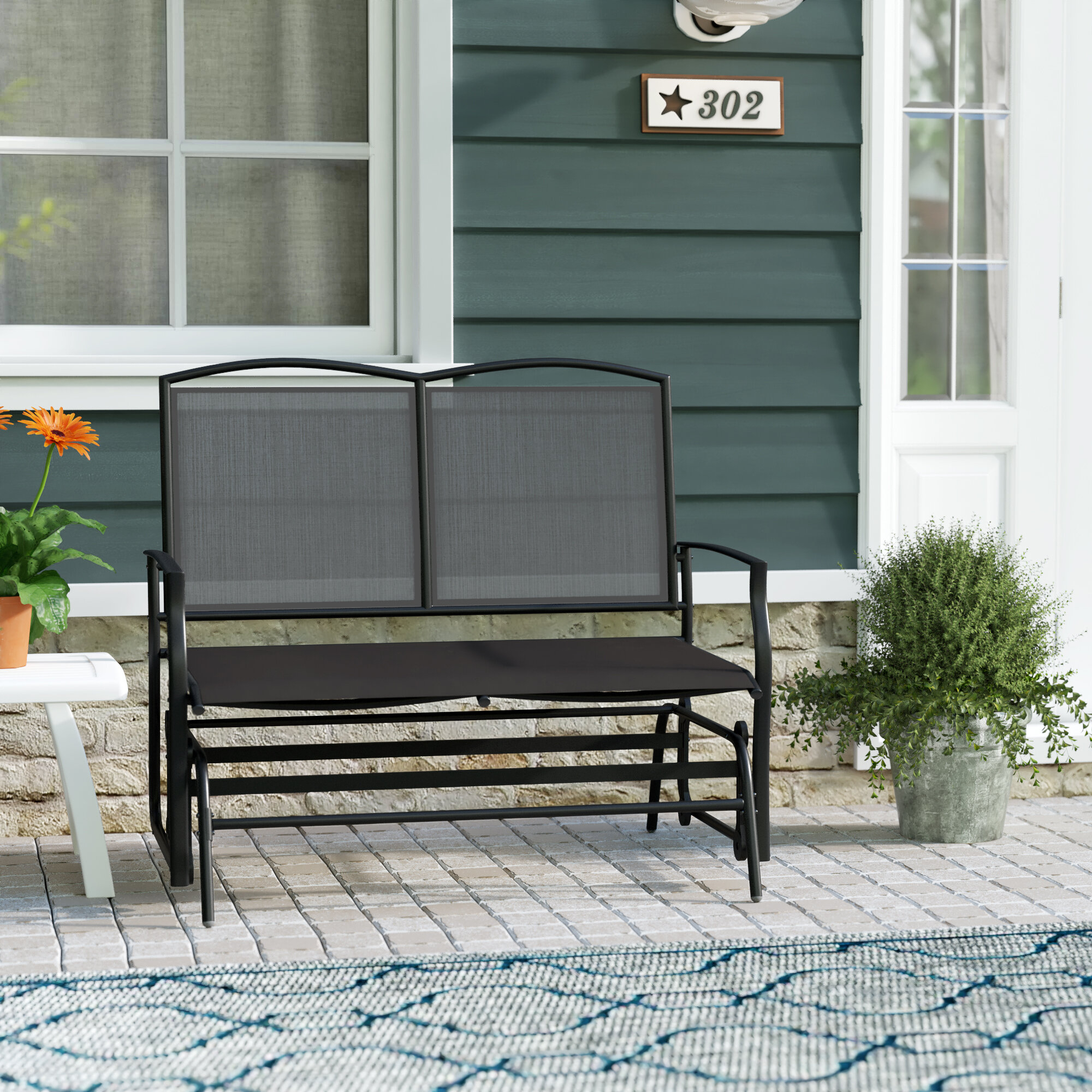 Ashong 2 Seat Steel Glider Bench Pertaining To Black Steel Patio Swing Glider Benches Powder Coated (Image 2 of 25)