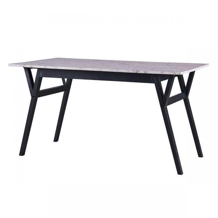 Ashton Rectangular Dining Table Faux Marble And Black Throughout Rectangular Dining Tables (View 22 of 25)