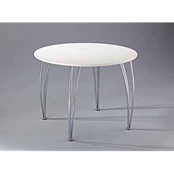 Aspect Arne Jacobsen Style Inspired White Dining Table Emily Regarding 4 Seater Round Wooden Dining Tables With Chrome Legs (View 3 of 25)