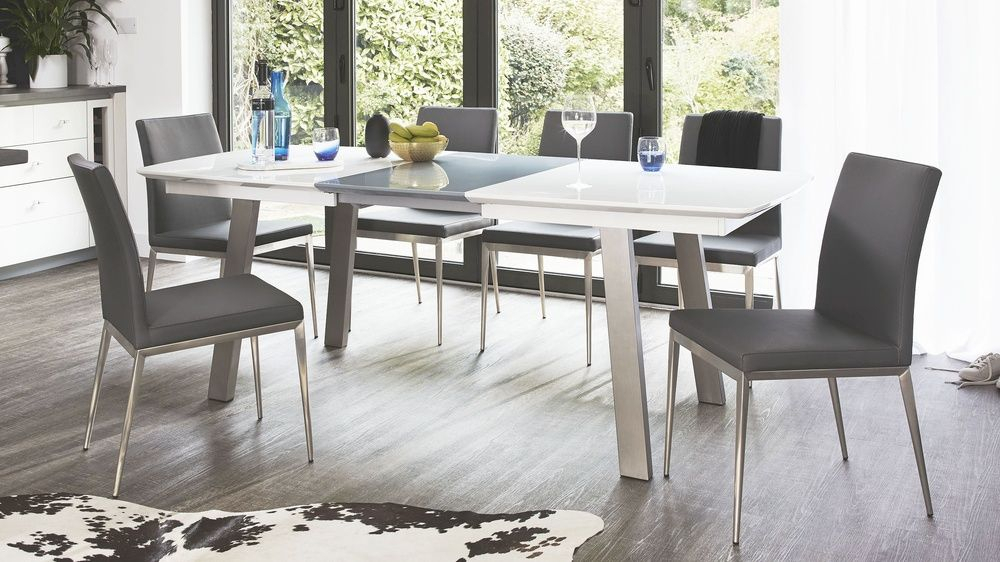 Assi White And Grey Gloss Extending And Lucia Dining Set Inside 8 Seater Wood Contemporary Dining Tables With Extension Leaf (View 10 of 25)