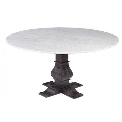 Featured Image of Thick White Marble Slab Dining Tables With Weathered Grey Finish