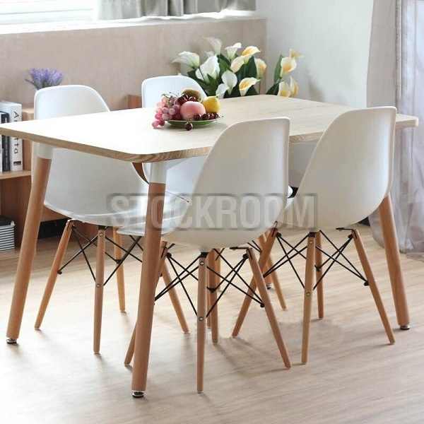 Attractive Eame Style Dining Table Charle Ray White Round Within Eames Style Dining Tables With Wooden Legs (View 24 of 25)