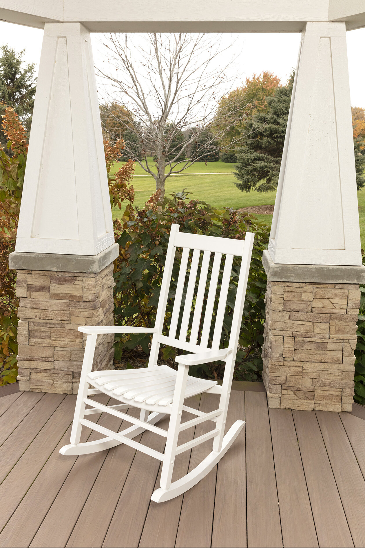 August Grove Lozano Mission Rocking Chair & Reviews | Wayfair Pertaining To Rocking Love Seats Glider Swing Benches With Sturdy Frame (View 21 of 25)