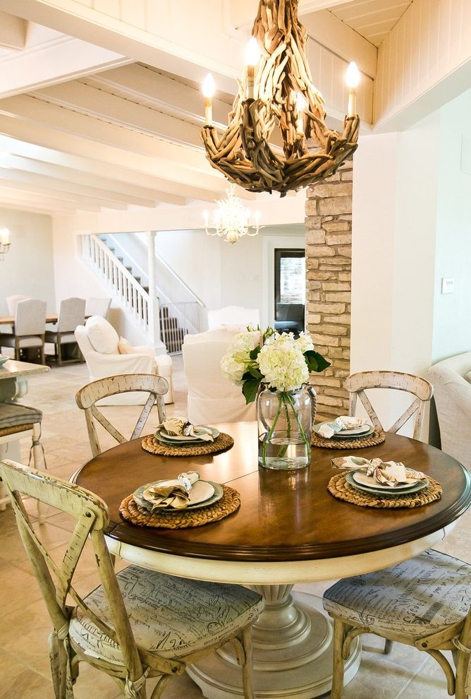 Austin Round Dining Table Centerpiece Room Shabby Chic Style Inside Transitional Driftwood Casual Dining Tables (View 5 of 25)