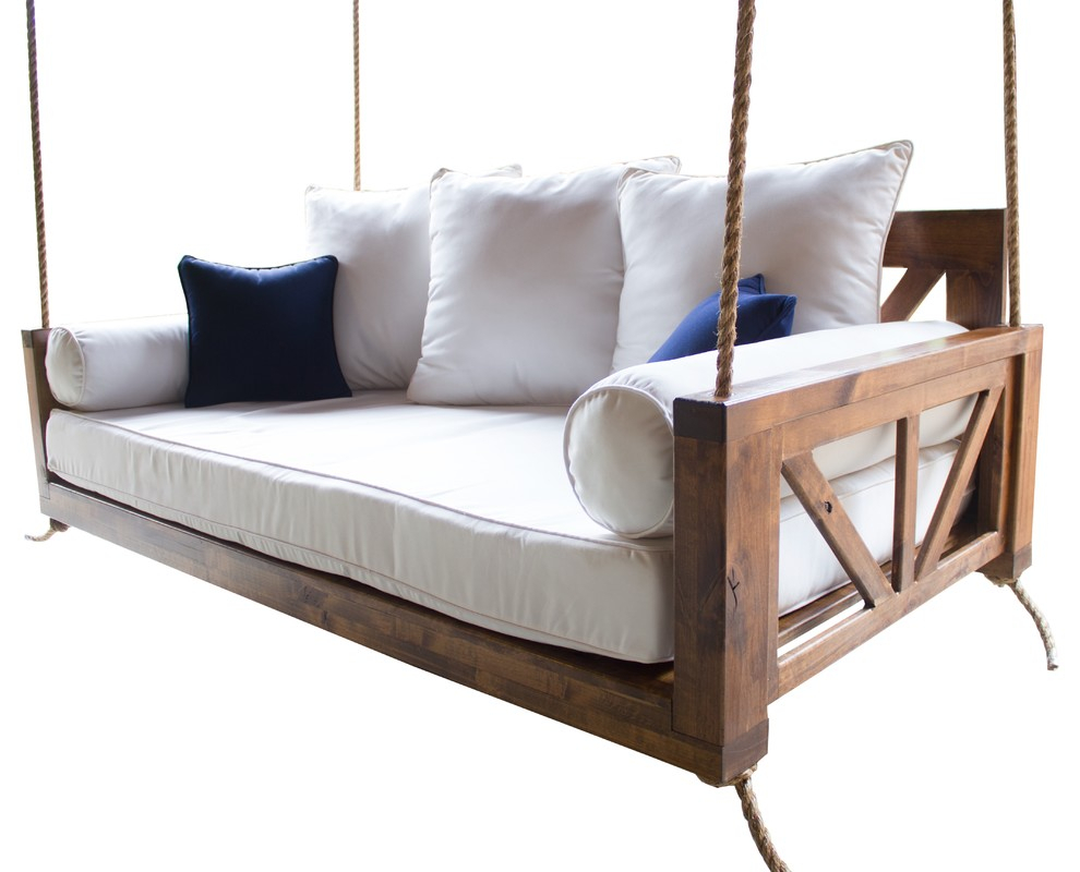 Avery Wood Porch Swing Bed, Charred Ember Finish, Crib Mattress Size Regarding Day Bed Porch Swings (Image 1 of 25)