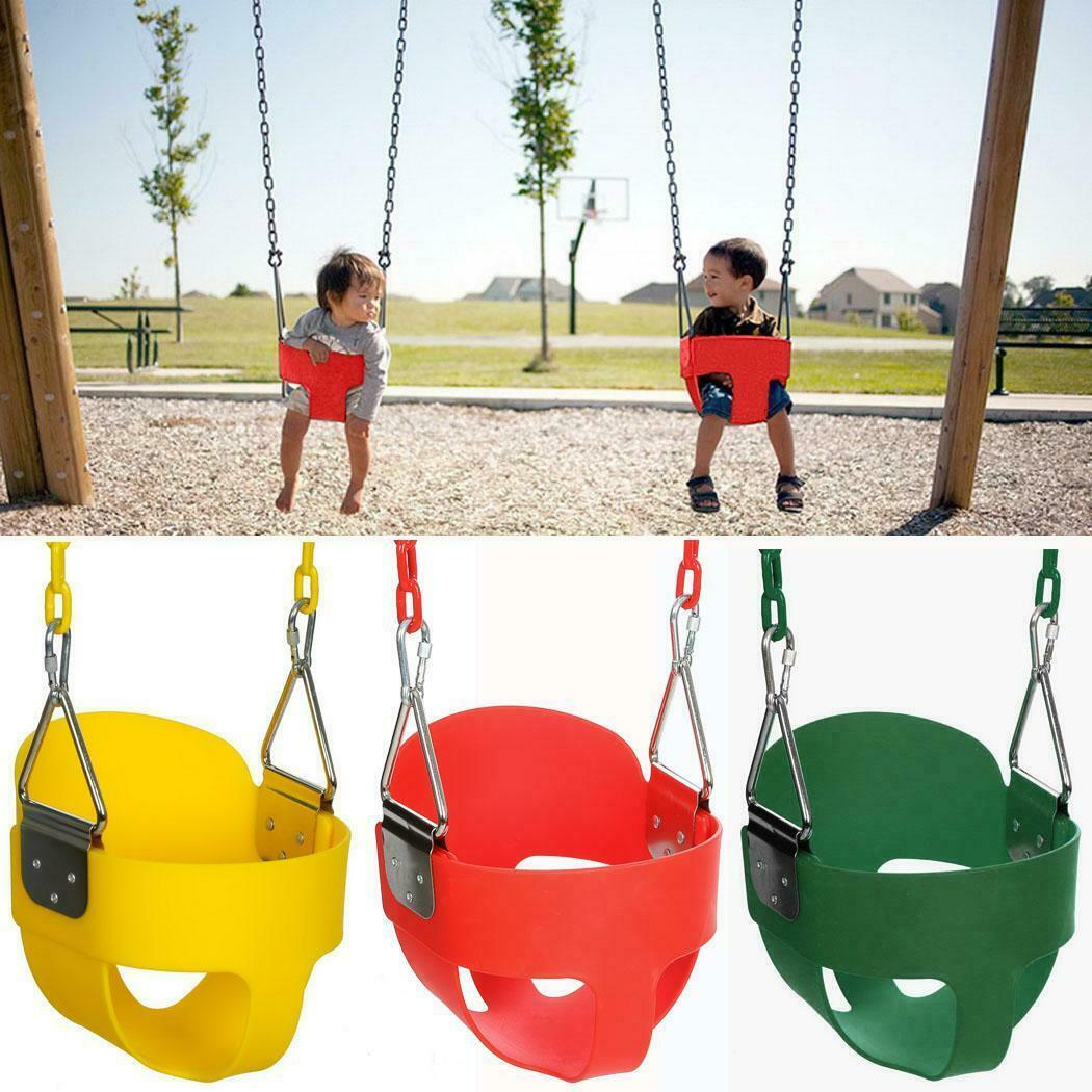 Baby Full Bucket Swing With Chain Kids Hanging Swing Seat Toddler Set Outdoor Us With 3 Person Red With Brown Powder Coated Frame Steel Outdoor Swings (View 3 of 25)