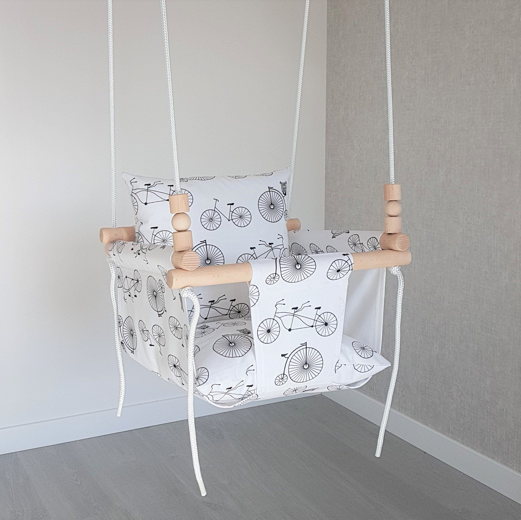 Baby Swing***ships Fast***wooden Swing/ Porch Swing/ Nursery For Cotton Porch Swings (View 14 of 25)