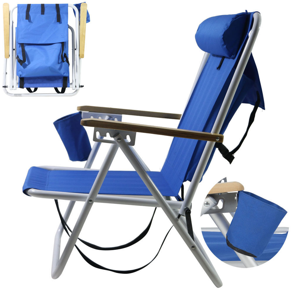 Backpack Fold Beach Chair With Adjustable Padded Headrest & Cup Holder Outdoor Inside Padded Sling Double Gliders (View 23 of 25)