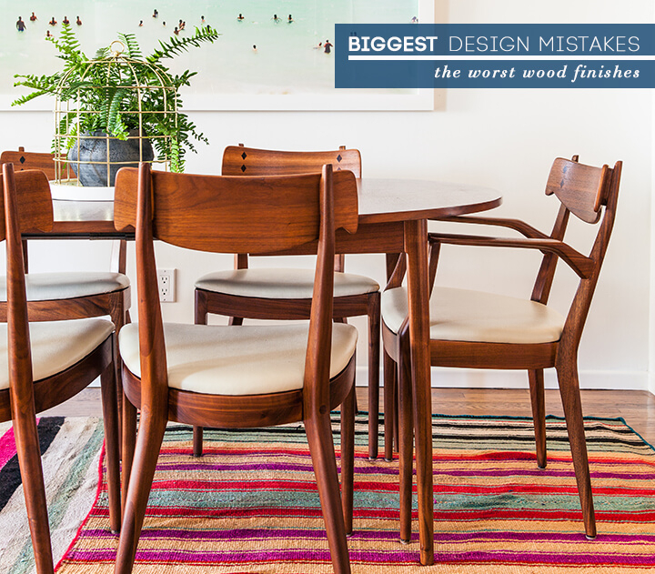 Bad Wood Finishes – Emily Henderson Pertaining To Espresso Finish Wood Classic Design Dining Tables (Image 2 of 25)