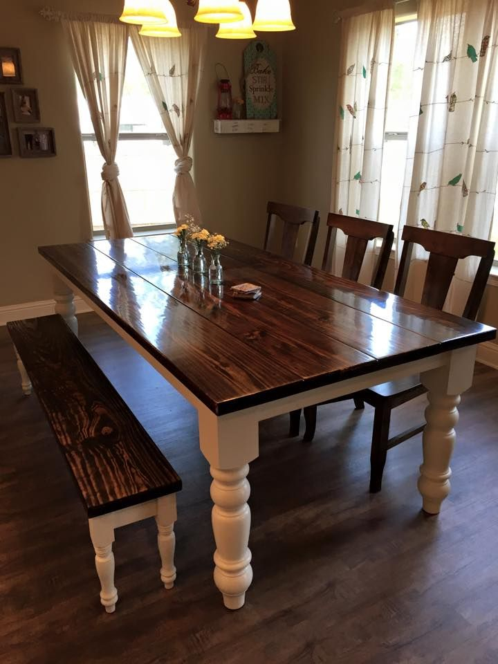Baluster Turned Leg Table | Farmhouse Dining Room Table Within Walnut And Antique White Finish Contemporary Country Dining Tables (View 5 of 25)