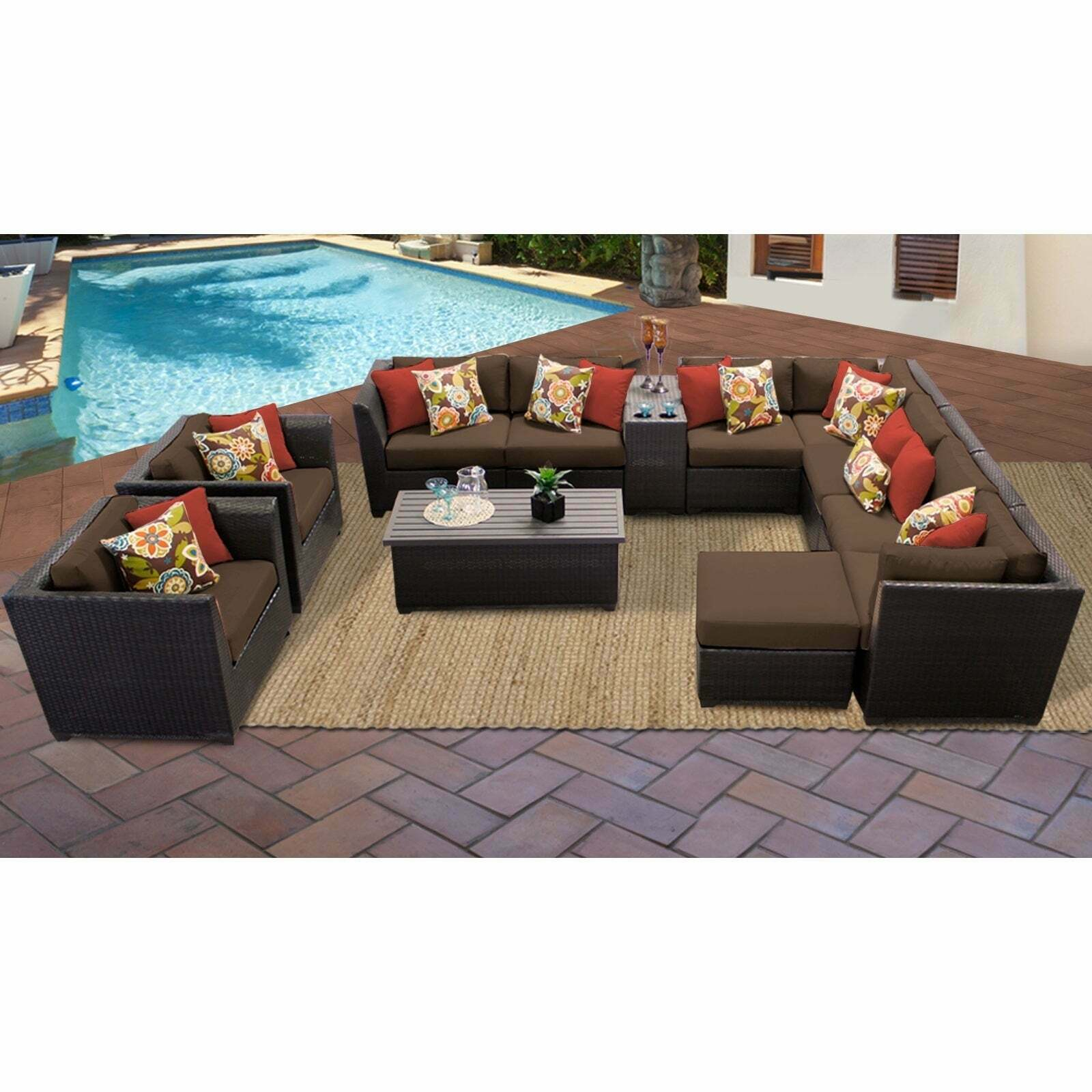 Barbados 12 Piece Outdoor Wicker Patio Furniture Set 12B Pertaining To Center Table Double Glider Benches (View 17 of 25)