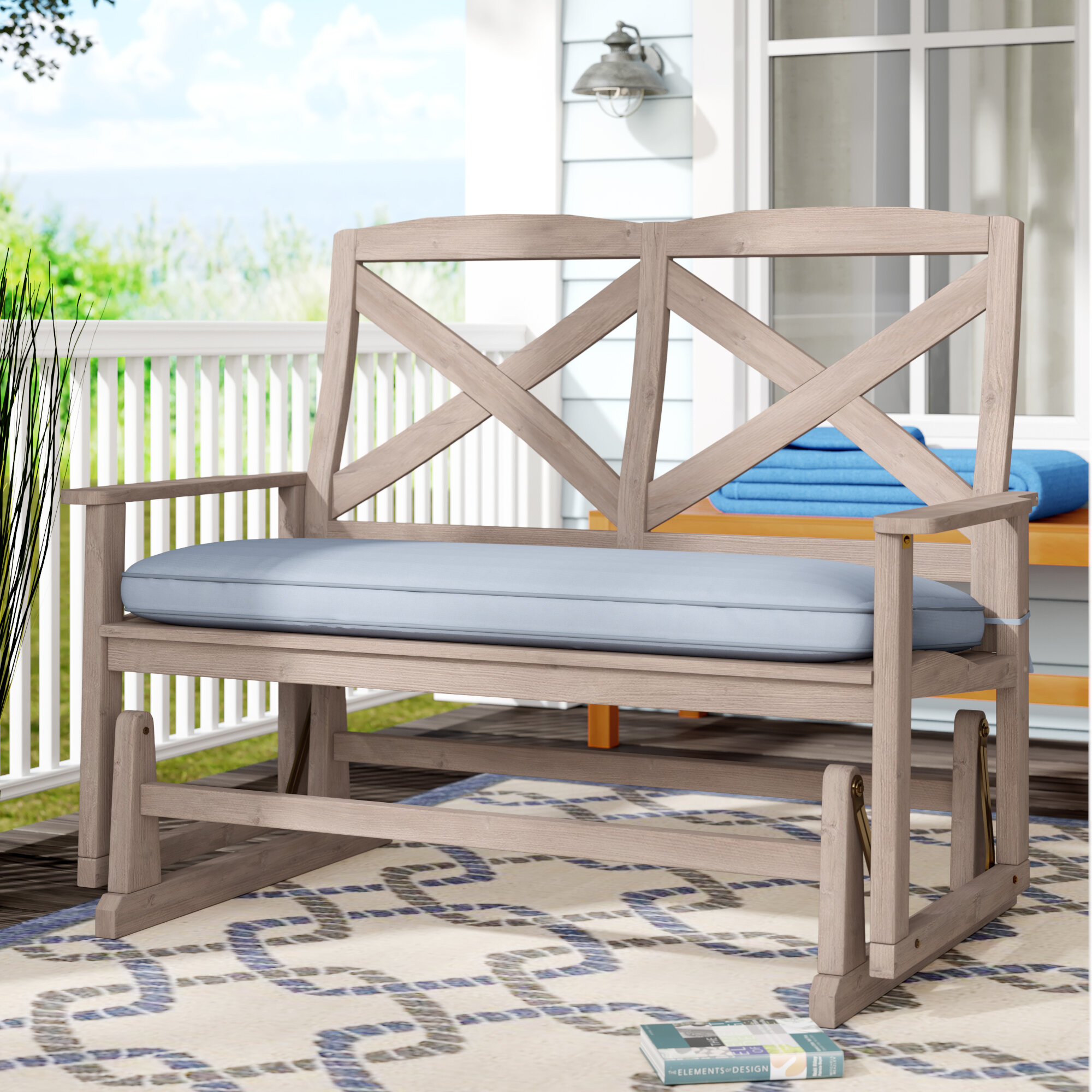 Beachcrest Home Englewood Glider Bench With Cushion Within 2 Person Natural Cedar Wood Outdoor Gliders (Image 7 of 25)