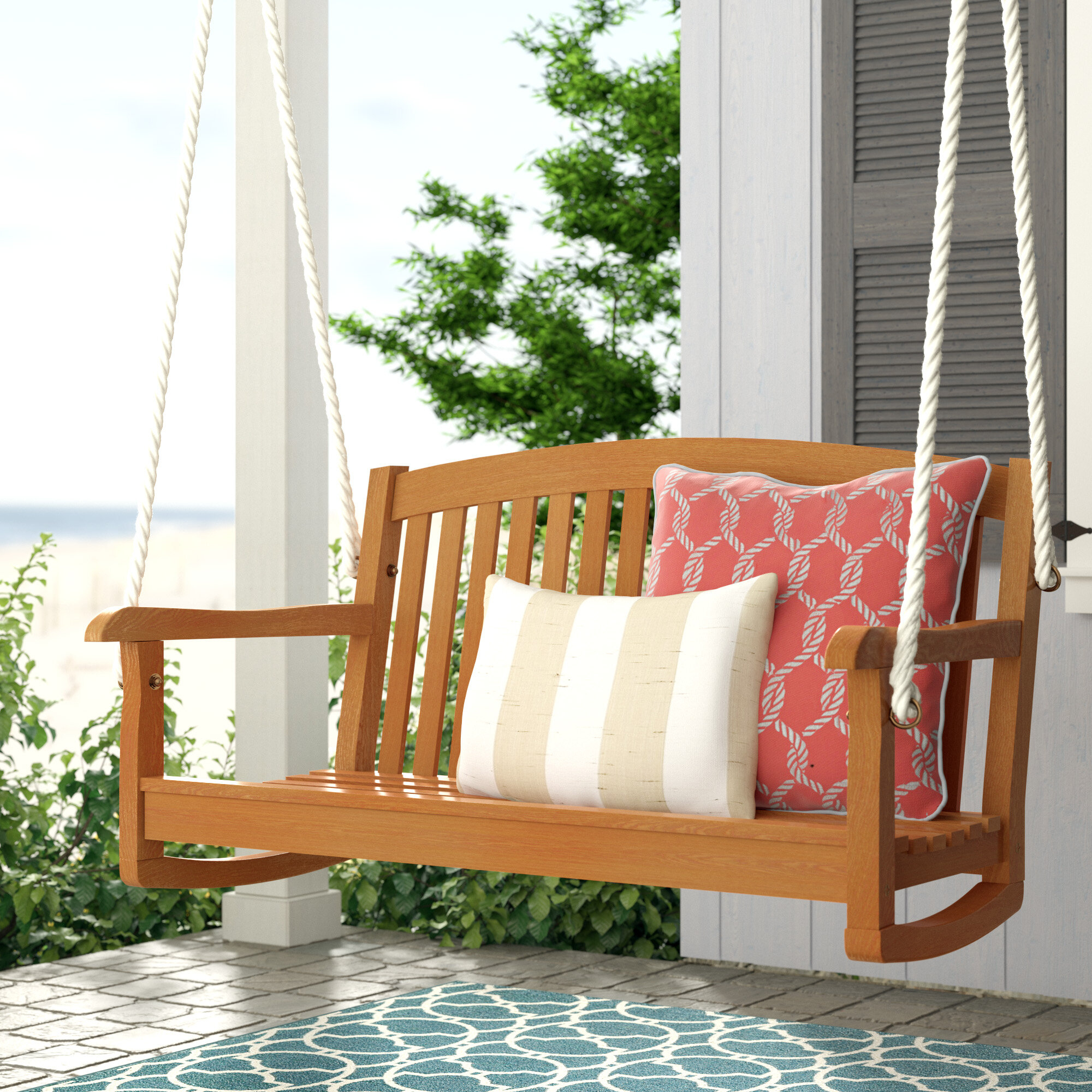 Beachcrest Home Portland Teak Porch Swing Intended For Fordyce Porch Swings (View 22 of 25)