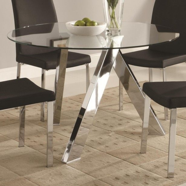 Beauteous Glass Top Dinning Tables: Archaic Design Ideas Inside 4 Seater Round Wooden Dining Tables With Chrome Legs (View 6 of 25)
