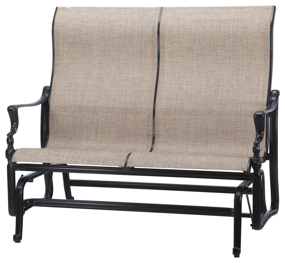 Bel Air Sling High Back Loveseat Glider, Shade, System Stone Inside Speckled Glider Benches (View 23 of 25)