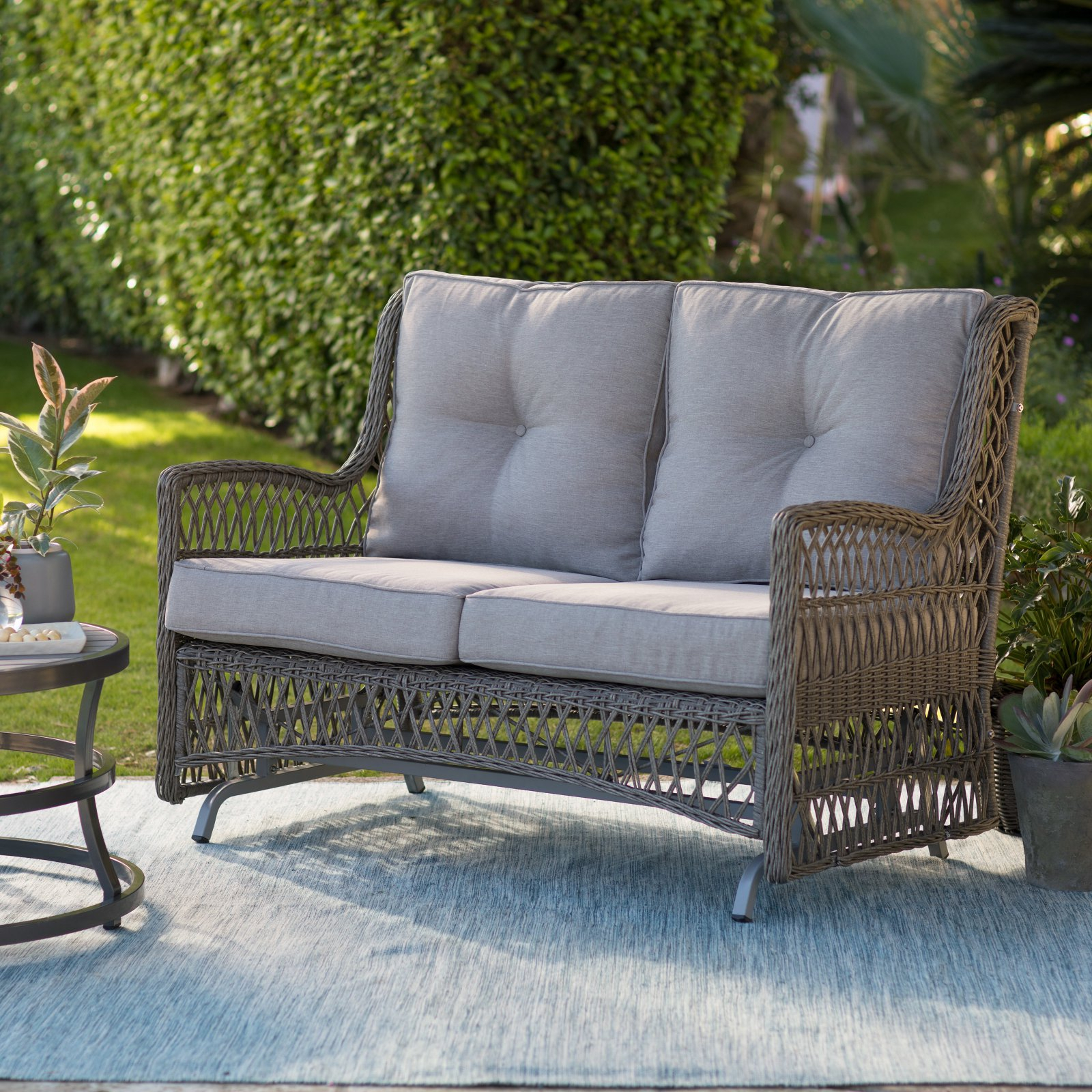 Belham Living Bristol Outdoor Glider Bench With Cushions Regarding Double Glider Benches With Cushion (Image 1 of 25)