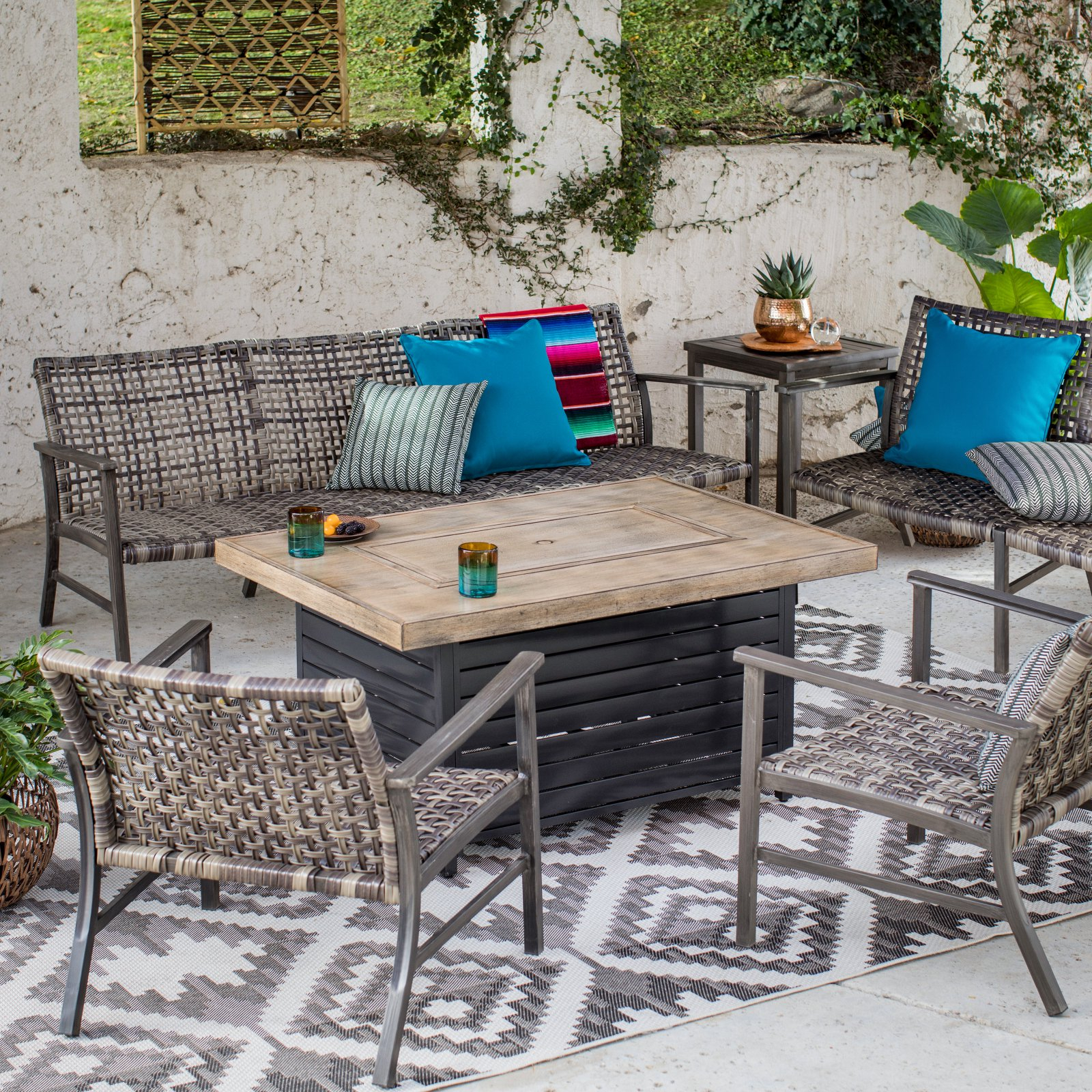Belham Living Eastport And Red Ember Seeley Fire Pit Patio In Outdoor Wicker Plastic Half Moon Leaf Shape Porch Swings (View 19 of 25)