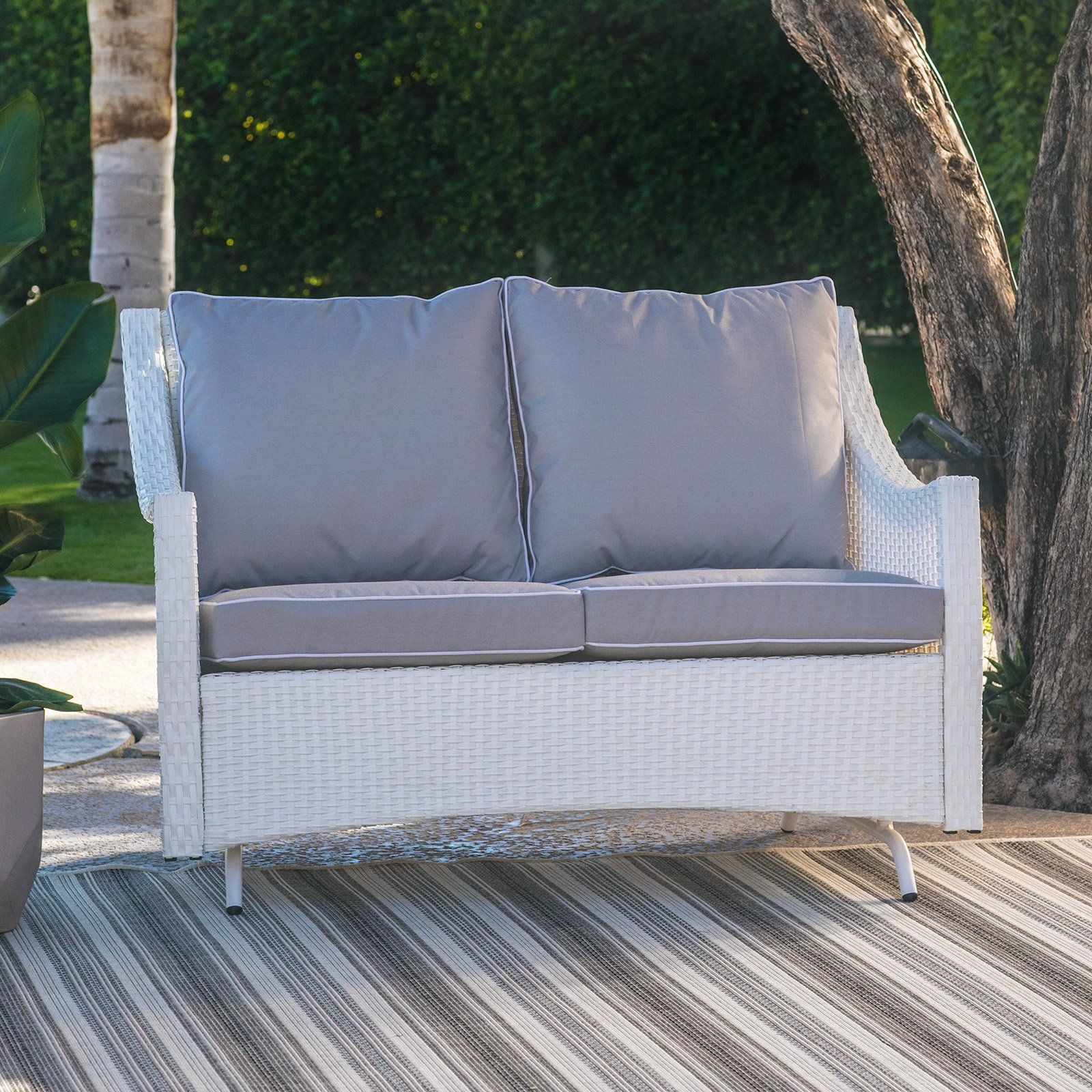 Belham Living Lindau All Weather Wicker Patio Loveseat Within Outdoor Loveseat Gliders With Cushion (View 5 of 25)