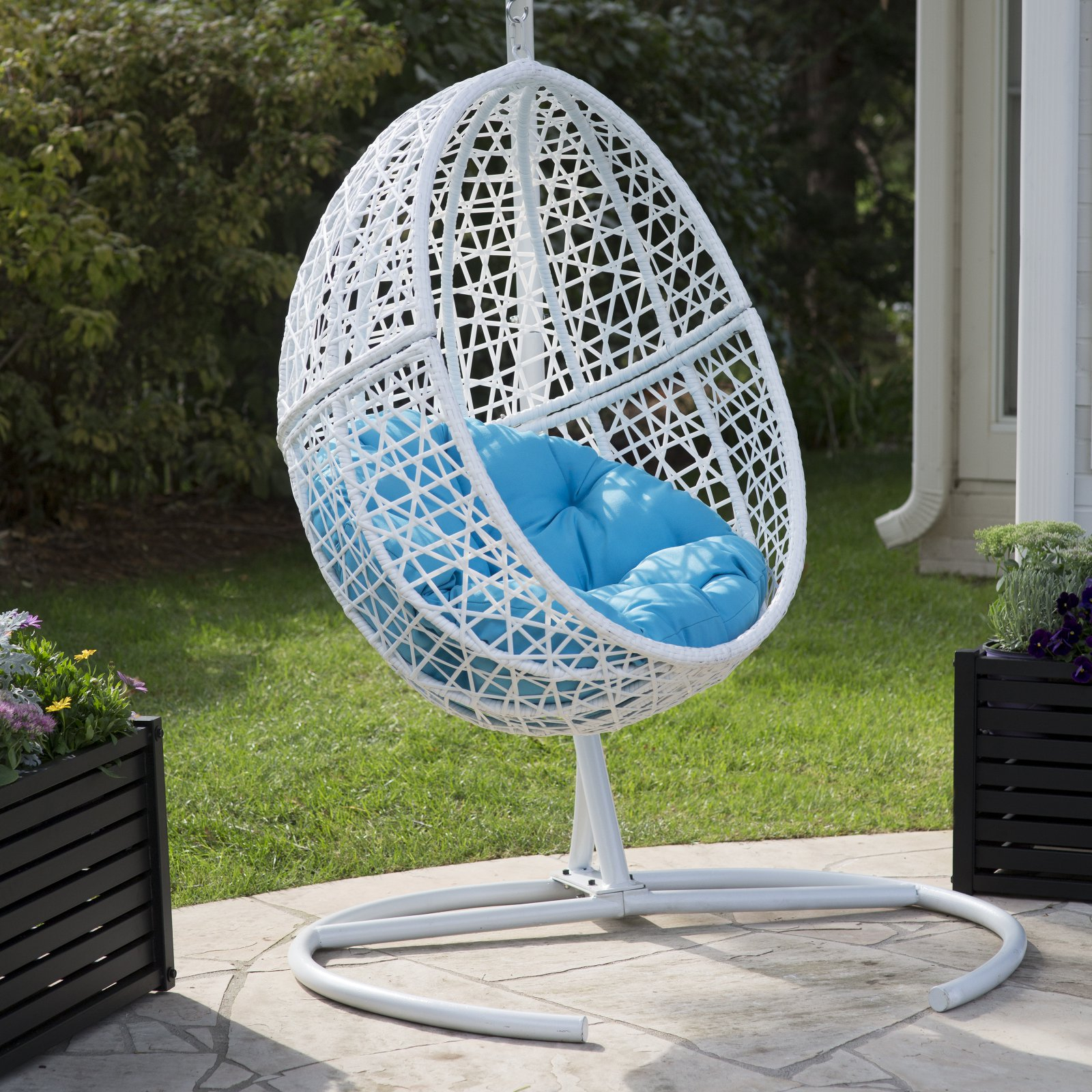 Belham Living Resin Wicker Blanca Hanging Egg Chair With For Outdoor Wicker Plastic Tear Porch Swings With Stand (View 13 of 25)