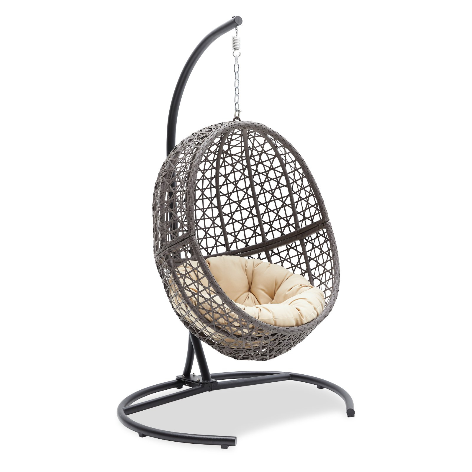 Belham Living Resin Wicker Hanging Egg Chair With Cushion Within Outdoor Wicker Plastic Tear Porch Swings With Stand (View 11 of 25)