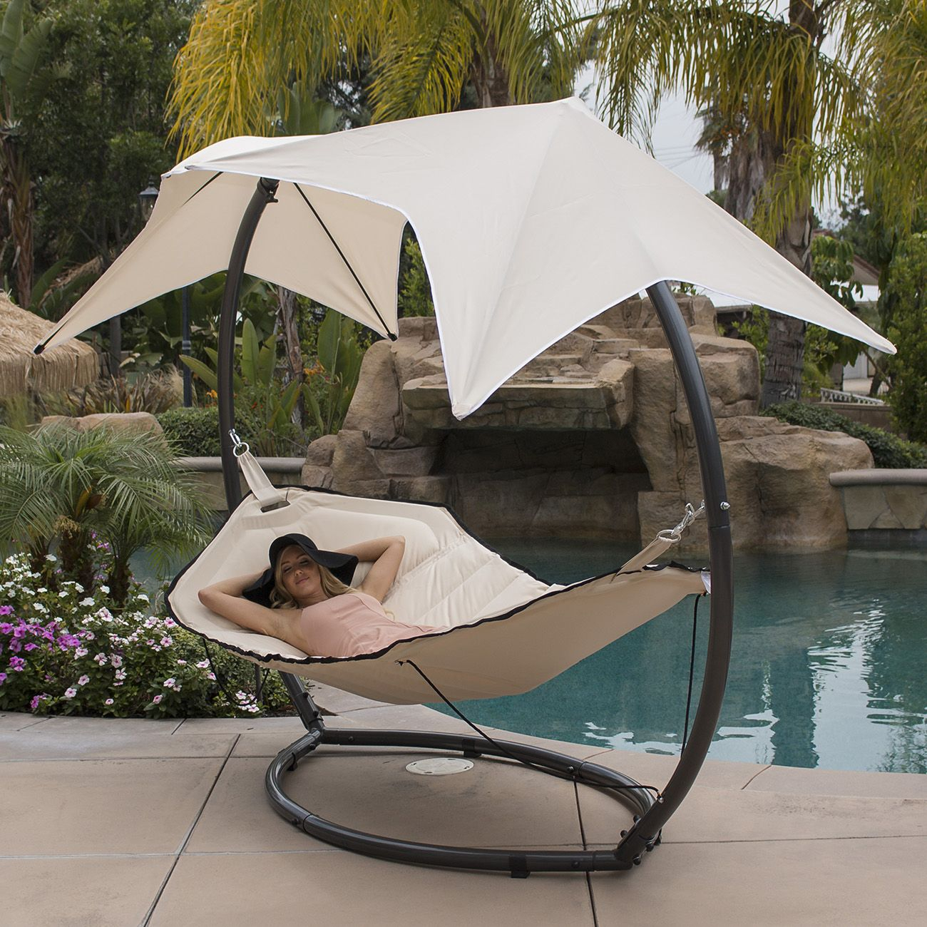 Belleze Belleze Patio Hammock W/ Sunroof Canopy Outdoor With Regard To Garden Leisure Outdoor Hammock Patio Canopy Rocking Chairs (View 5 of 25)