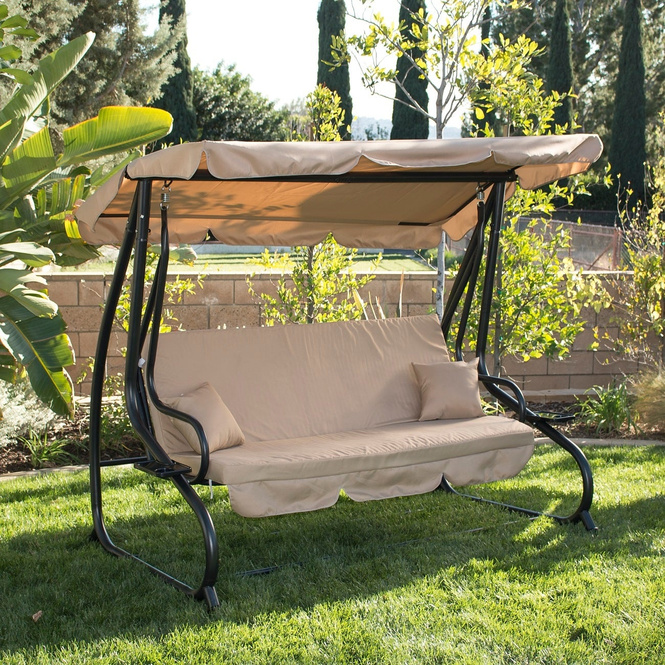 Belleze Outdoor Canopy Porch Swing Bed Hammock Tilt Canopy Sun Shade Steel  Frame Throughout Canopy Porch Swings (Image 1 of 25)