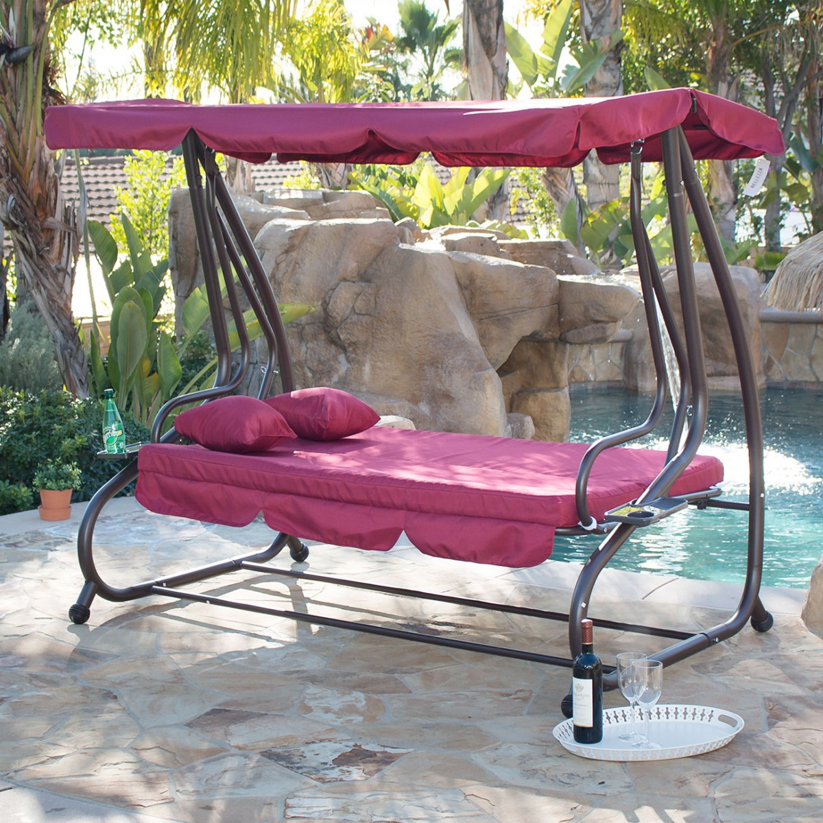 Belleze Outdoor Canopy Porch Swing/bed Hammock Tilt Canopy With Steel Frame (Burgundy) Within Porch Swings With Canopy (View 6 of 25)