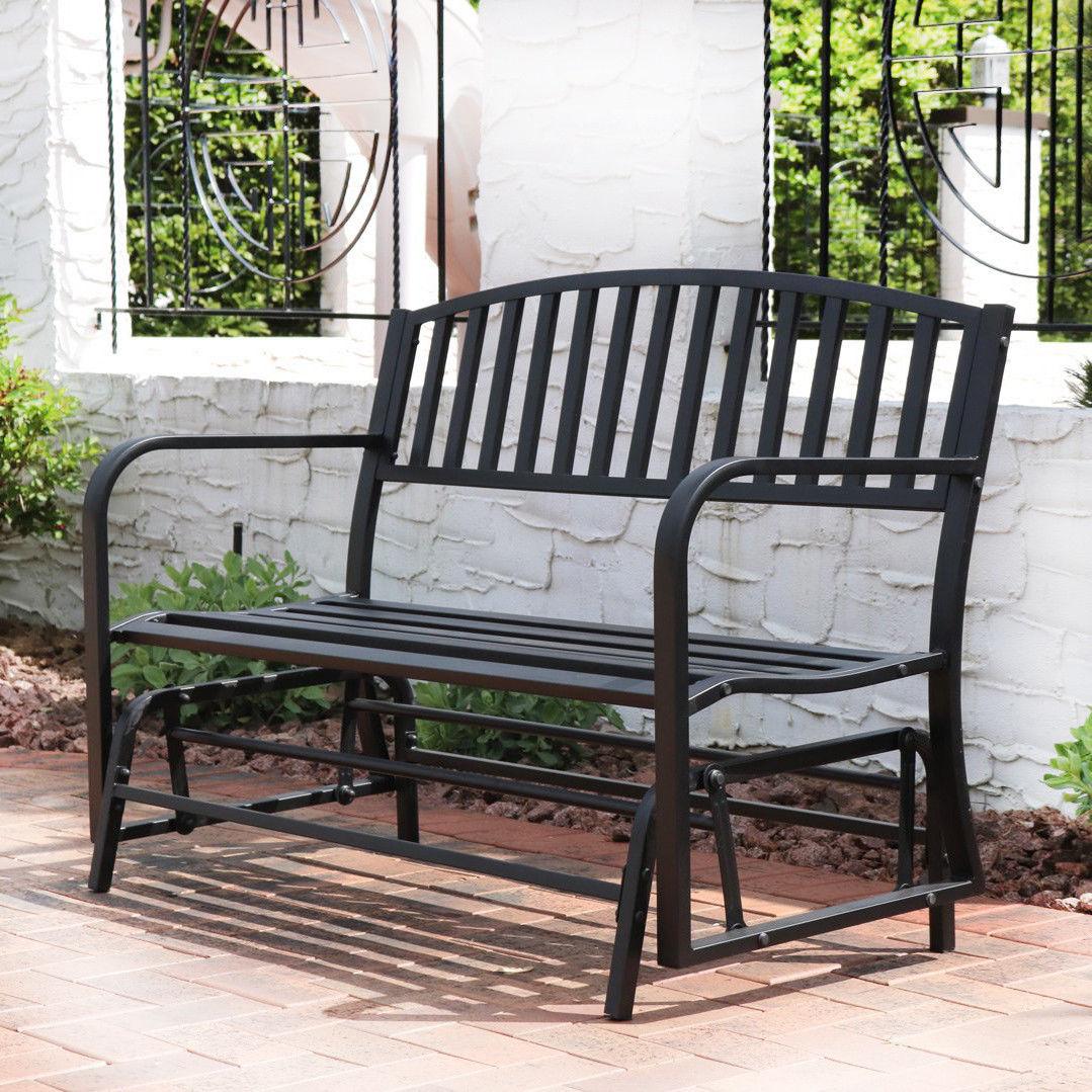 Bench Glider Rocking Chair Outdoor Patio Garden Furniture Deck Loveseat,  Black Regarding Metal Retro Glider Benches (Image 1 of 25)