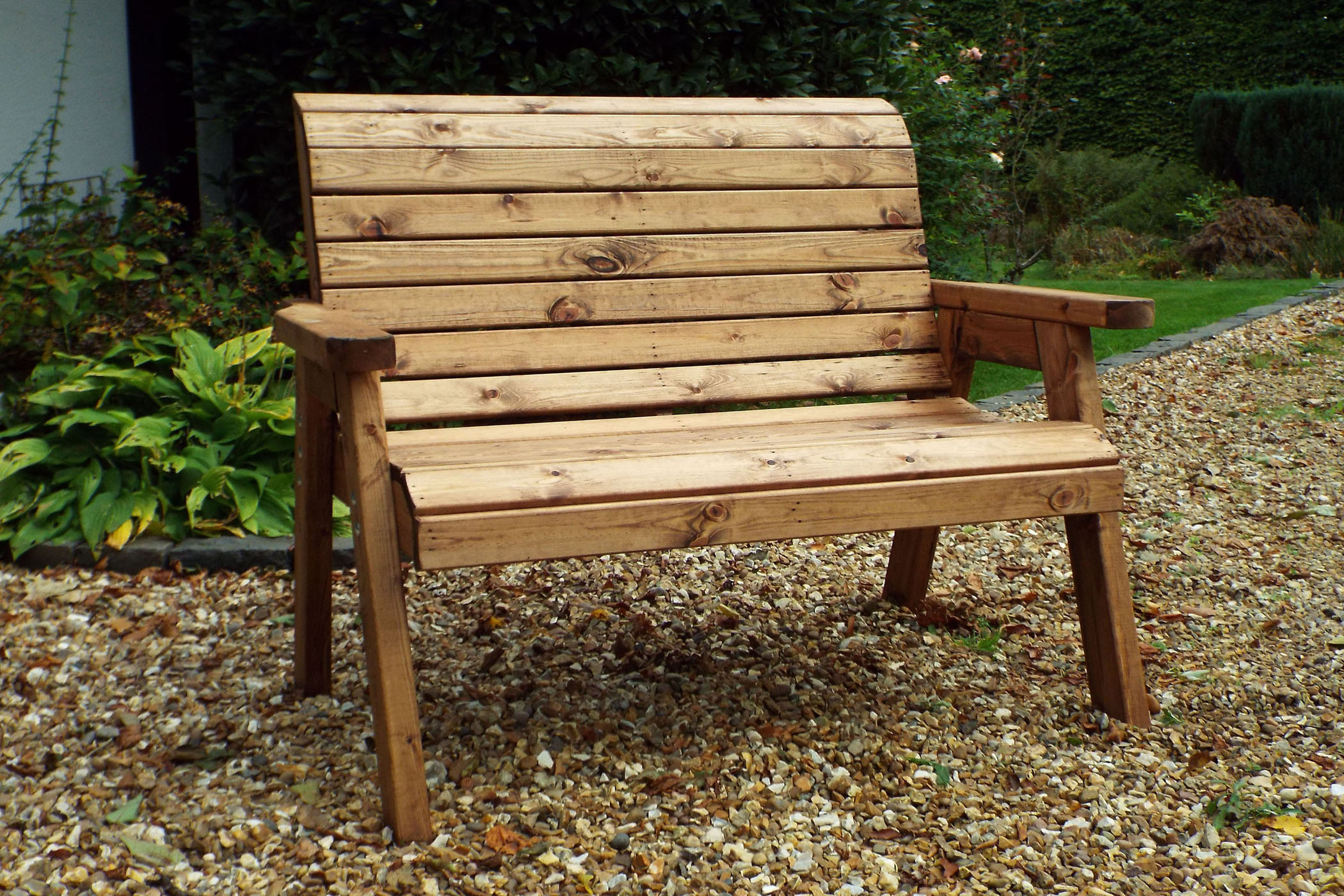 Benches Garden Bench 2 Seater Solid Wooden Furniture Hand In Wood Garden Benches (View 3 of 25)