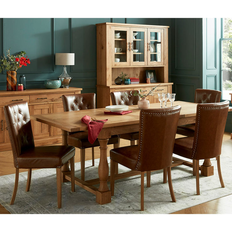 Bentley Designs Westbury Rustic Oak Extending Dining Table + 6 Upholstered Chairs, Seats 4 10 | Costco Uk Pertaining To Rustic Country 8 Seating Casual Dining Tables (View 8 of 25)