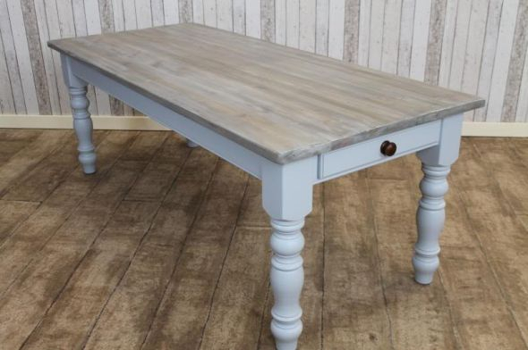 Bespoke Pine Dining Table Painted Base | Peppermill Interiors Within Rustic Pine Small Dining Tables (View 15 of 25)