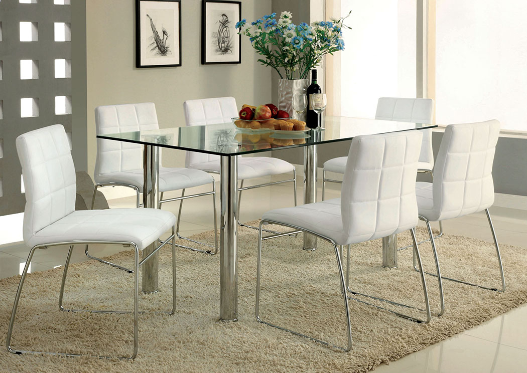 Best Buy Furniture And Mattress Oahu Chrome Glass Top Dining For Chrome Contemporary Square Casual Dining Tables (View 14 of 25)
