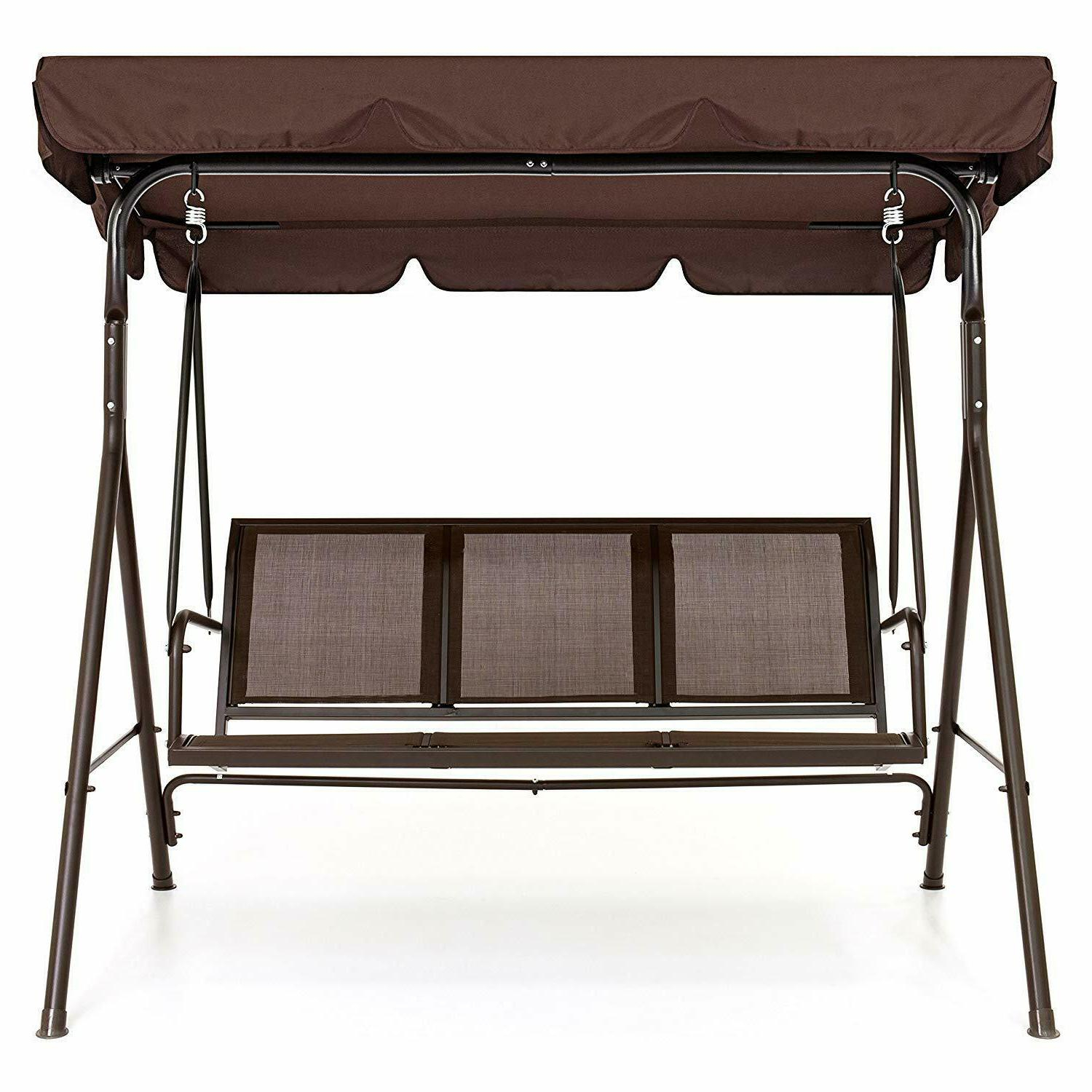 Best Choice Products 2 Person Outdoor Convertible Canopy Porch Swing – Brown In Porch Swings With Canopy (View 14 of 25)